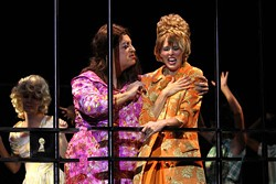 CHRIS RECORD - SPRAY IT LOUD: Beau Stroup as Edna Turnblad (left) and Susan Roberts Knowlson as Velma Von Tussle in Hairspray.