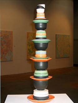 Stacked piece by Benjamin Schulman included in SOUP exhibit at Hart Witzen Gallery