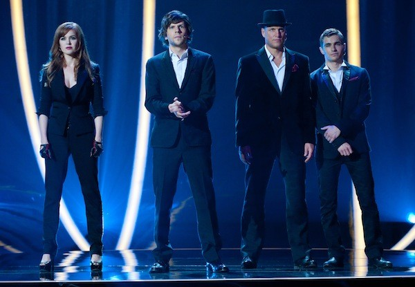STAGE PRESENCE: The Four Horsemen (Isla Fisher, Jesse Eisenberg, Woody Harrelson and Dave Franco) entertain the audience in Now You See Me. (Photo: Summit Entertainment)