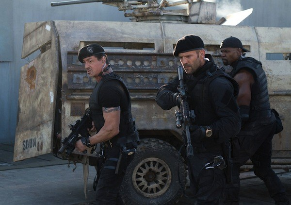 Sylvester Stallone, Jason Statham and Terry Crews in The Expendables 2 (Photo: Lionsgate)
