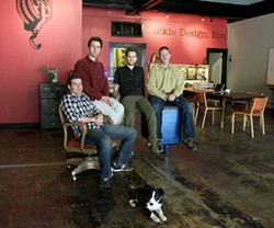Tackle Design partners Chuck Messer, Kevin Webb, Jesse Crossen and Jonathan Kuniholm in their downtown Durham office. - DEREK ANDERSON