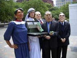 JOEYSKAGGS.COM - The Bush war cabinet and friend during a Joey Skaggs media prank
