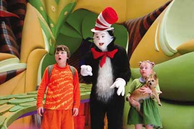 THE CAT IN THE HAT: Spencer Breslin, Mike Myers and Dakota Fanning.