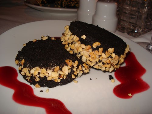 The chocolate peanut butter and jelly dessert, served with a raspberry sauce, was to die for.