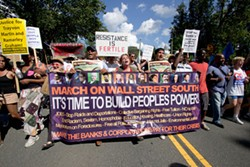 GRANT BALDWIN - The Coalition to March on Wall Street South brought together nearly 90 protest groups at the DNC.