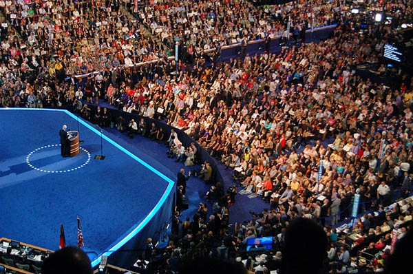 The convention crowd on Wednesday night