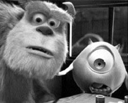THE HORROR, THE HORROR Sulley and Mike react - to a frightful situation  in Monsters, Inc.