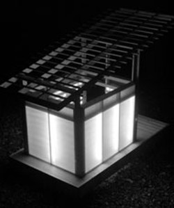 MORRI FREEMAN - The Lilooley House: a glow-ble home for the modern - dog. A corrugated metal roof and casters have since - been added to make this a comfortable canine mobile - home.