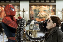 COLUMBIA & MARVEL - THE LONG ARM OF THE OUTLAW Spider-Man - (Tobey Maguire) gets tied up with Doctor Octopus - (Alfred Molina) in Spider-Man 2