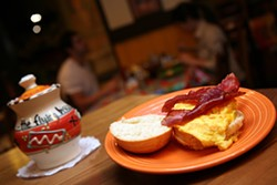 CATALINA KULCZAR - THE MOST IMPORTANT MEAL OF THE DAY: An egg and bacon biscuit dish at The Flying Biscuit