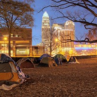 The Occupy Charlotte campsite at Old City Hall on East Trade Street at dusk on Nov. 26.