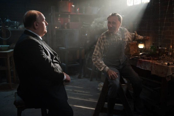 THE SILENCE OF THE HAMS: Film director Alfred Hitchcock (Anthony Hopkins) and psycho killer Ed Gein (Michael Wincott) converse in one of the many daft fantasy sequences in Hitchcock. (Photo: Fox Searchlight)