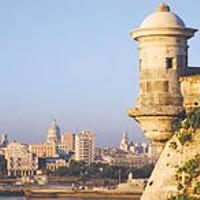 The skyline and Malecón of picturesque Havana, Cuba.