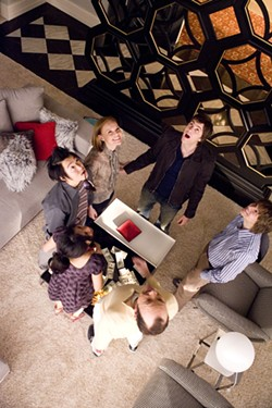 PETER IOVINO / COLUMBIA & GH THREE LLC - THE SKY'S THE LIMIT: (Clockwise from top) Ben (Jim Sturgess), Fisher (Jacob Pitts), Micky (Kevin Spacey), Kianna (Liza Lapira), Choi (Aaron Yoo) and Jill (Kate Bosworth) feel fortune smiling down on them in 21.