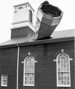 DON SWAN - The steeple from a church on the Plaza was blown - over and plunged, point-first, through the roof.