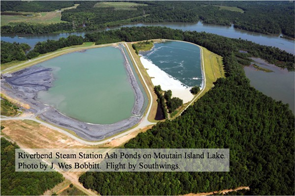 These are the two coal ash ponds on the edge of Charlottes main drinking water reservoir.
