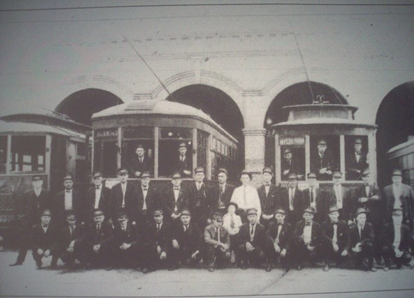 These trolley cars serviced Myers Park and Hoskins, as well as the large number of employees who earned their living by operating the system, some of whom are pictured.