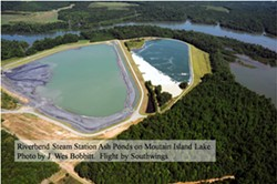 These two Duke Energy coal ash ponds drain into our drinking water, aka Mountain Island Lake.