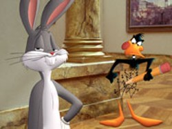 WARNER BROS - THICK ON THE DRAW Daffy illustrates a point for - Bugs in Looney Tunes: Back In Action