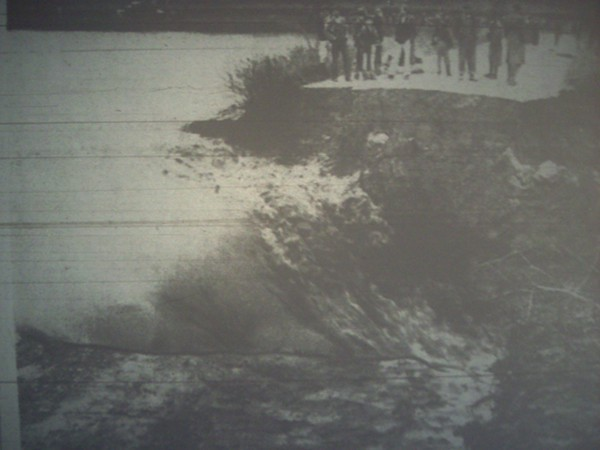 This image, captured from a microfilm projection, is the only known picture to survive showing the aftermath of the tornado and flood that destroyed Lakewood and flooded the surrounding neighborhood.