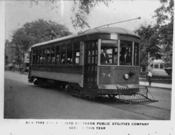 This trolley, which was used to carry riders between downtown and Lakewood Amusement Park, is similar to the one destroyed in the crash on March 26, 1931.