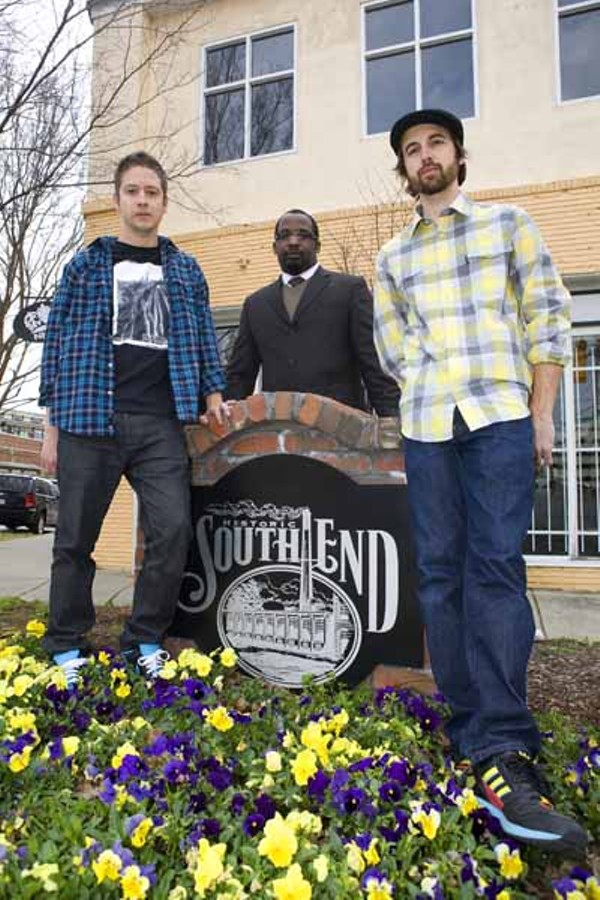 THREE'S COMPANY: South End business owners (l to r) Josh Frazier (Black Sheep), Johnathan Cuevas (Apostrophe Lounge) and Bobby Webster (Niche)