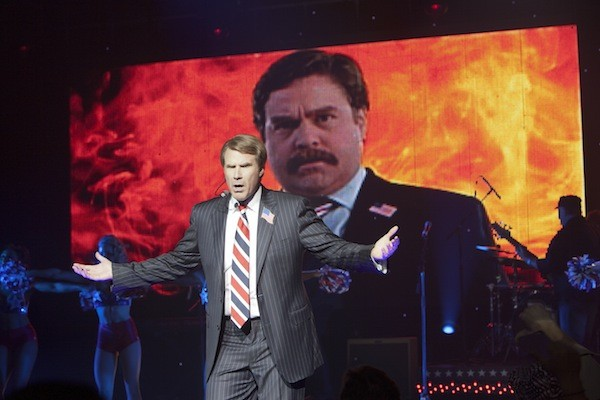 TORCHING HIS OPPONENT: Cam Brady (Will Ferrell) delivers an incendiary speech about Marty Huggins (Zach Galifianakis) in The Campaign. (Photo: Warner Bros.)