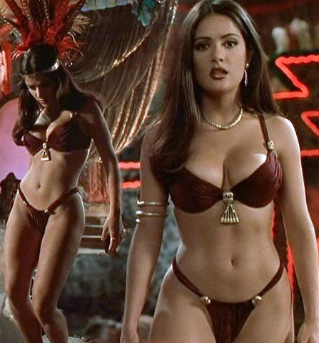 Two views of Salma Hayek in From Dusk Till Dawn