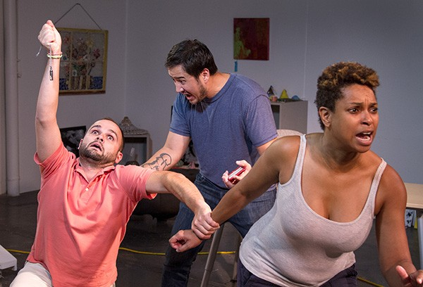 "Stephen Seay, Stephen West-Rogers and Ericka Ross flail about during the ""Runt"" rehearsals. (Photo by Chuck Bludsworth)"
