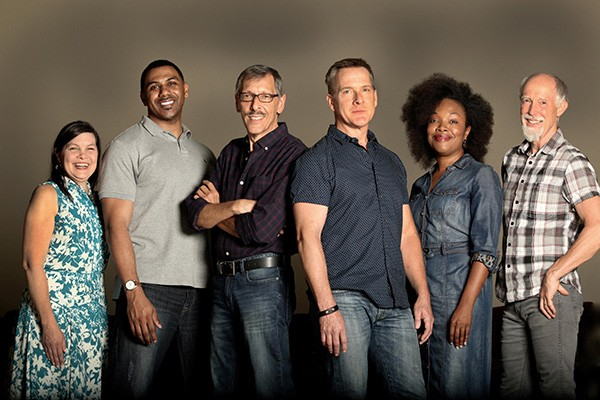 'The Christians' cast: Chandler McIntyre (from left), Jonavan Adams, Umberger, Brian Robinson, April C. Turner, Graham Smith (Photo: Donna Bise)