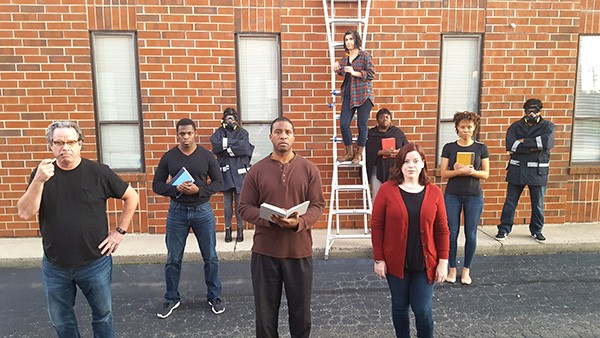 A fiery crew (from left): Thom Tonetti (Beatty), Christopher Long and Anna Royal (ensemble players), Harry Jones Jr. (Montag), Stefani Cronley (Clarisse), Angie Cee (Mrs. Hudson), Lisa Hatt (Mildred), Alystia Moore and Varun Aggarwal (ensemble players).