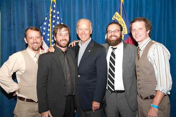 Vice President Joe Biden flanked by New Familiars Daniel Flynn (from left), Pat Maholland, Josh Daniel and Fedor. - (Photo courtesy of Biden Press Staff)