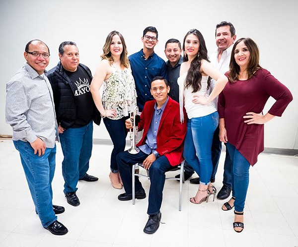 Orquesta Mayor is Helder Serralde (seated) flanked by Raul Verano (behind, from left), Frankie Martinez, Viviana Donate, Irvin Rosado, Tyrone Marquez, Laura Villamil, Martin Donate and Vivian Cortes. (All photos by Jorge Torres)