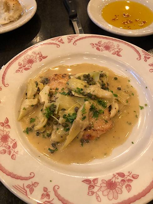 One of Mama Ricotta's most popular dishes, pollo carciofi.