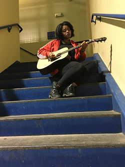 Johnson practices in a stairwell. (Photo courtesy of Randi Johnson)