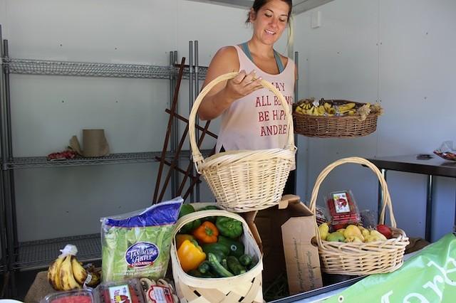 Alisha Pruett prepares her mobile market.