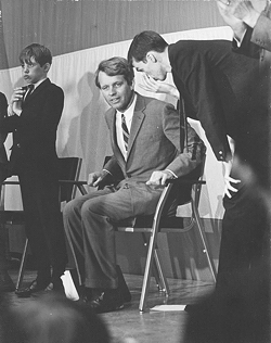 Bobby Kennedy gets an earful from Gaillard before Kennedy addresses a crowd at Vanderbilt University in 1968