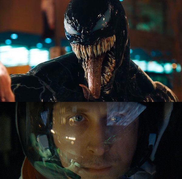 Tom Hardy as Venom and Ryan Gosling in First Man (Photos: Venom: Columbia; First Man: Universal)