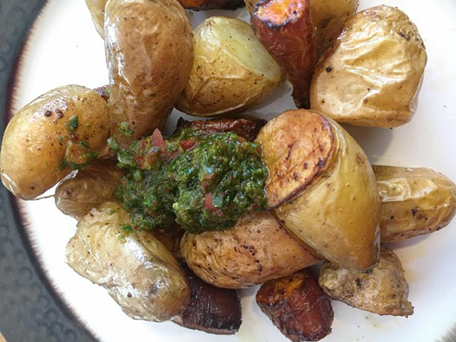 Farmer's Table Chimichurried Potatoes. (Photo by Ari LeVaux)