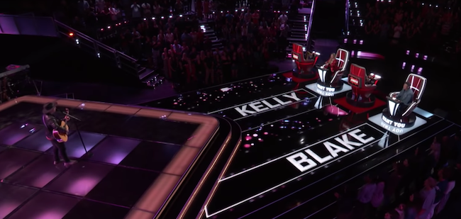 Shelton and Clarkson both pressed their buttons to choose Marlowe during his blind audition. (Photo Courtesy of NBC)