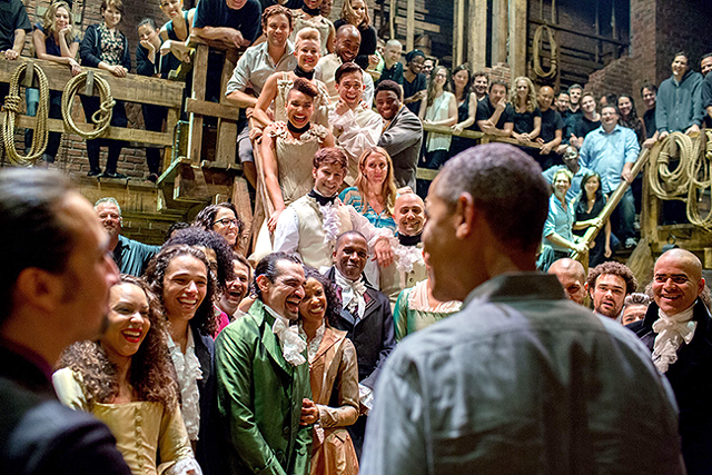 President Obama greets the cast of 'Hamilton' at the height of the play's popularity.