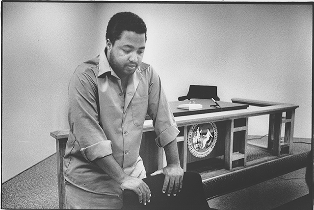 """Belton """"Money Rock"""" Platt during an interview with Pam Kelley from inside the walls of Central Prison in Raleigh. (Photo courtesy of Charlotte Observer)"""