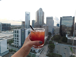 Enjoying a Fahrenheit cocktail (Photo by Dana Vindigni)