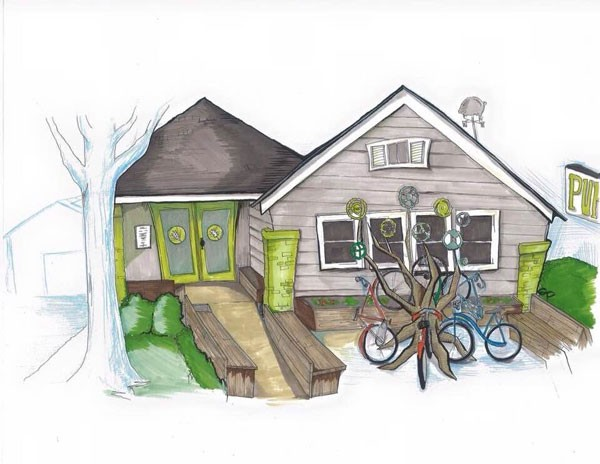 Local artist Sarah Pollock drew up this rendering of Pure Pizza after the bike rack is installed.