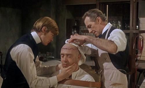 Simon Ward, Freddie Jones and Peter Cushing in Frankenstein Must Be Destroyed (Photo: Warner & Hammer)