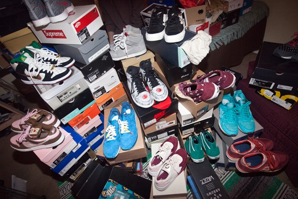 Alex Brown's collection of sneakers includes over 200 pairs, some of which valued at thousands of dollars. (Photo by Jeff Hahne)