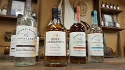 Some of the products available from Muddy River Distillery. (Photo by Alison Leininger)