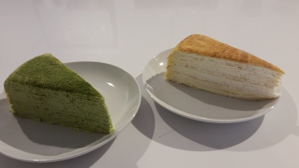 Lady M Mille Crepe Cakes (green tea and traditional) at The Gallery