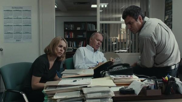 Rachel McAdams, Michael Keaton and Mark Ruffalo in Spotlight (Photo: Universal & Open Road)