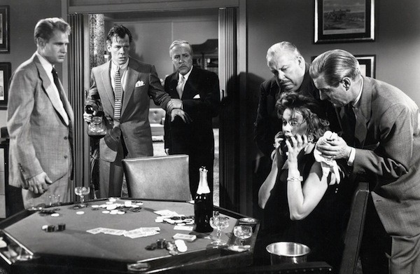 Adam Williams (far left), Lee Marvin (second from left) and Gloria Grahame in The Big Heat (Photo: Twilight Time)